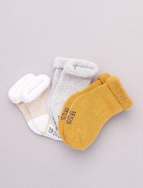 Pack de 3 pares de calcetines para bebé                                                                             NARANJA