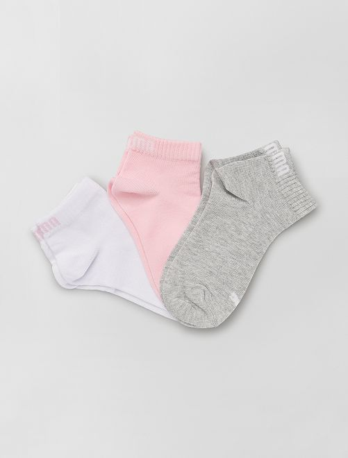 Pack de 3 pares de calcetines 'Puma' de caña corta                                                                                         rosa/blanco/gris