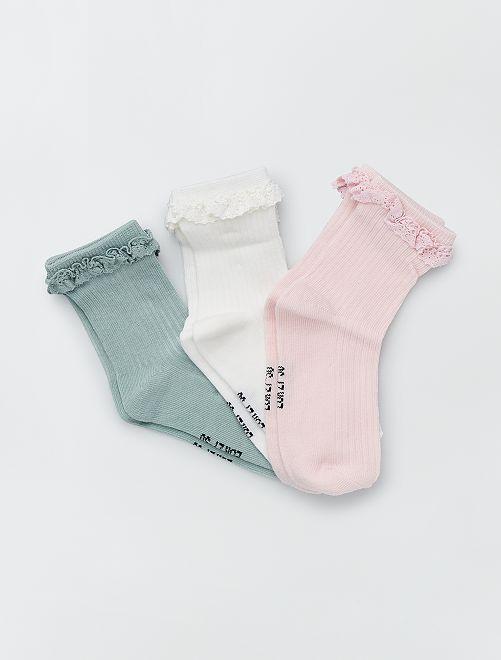 Pack de 3 pares de calcetines                             ROSA