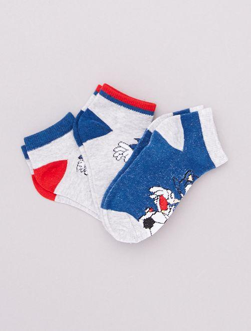 Pack de 3 pares de calcetines 'Sonic'                             AZUL