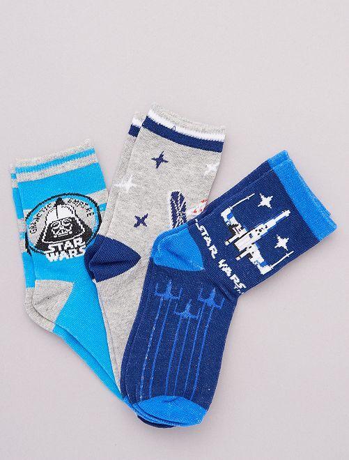 Pack de 3 pares de calcetines 'Star Wars'                                         AZUL