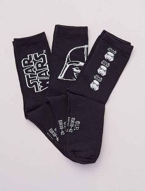 Pack de 3 pares de calcetines 'Star Wars'                             NEGRO