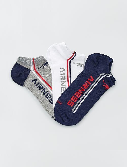 Pack de 3 pares de calcetines tobilleros 'Airness'                                 AZUL/blanco