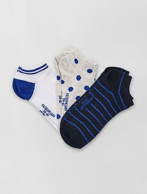 Pack de 3 pares de calcetines tobilleros                                         azul