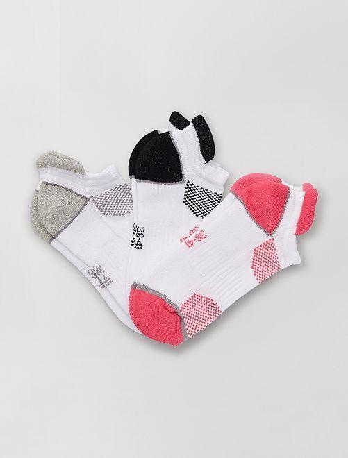 Pack de 3 pares de calcetines tobilleros de deporte                                         GRIS/negro/rosa