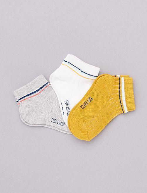 Pack de 3 pares de calcetines tobilleros 'eco-concepción'                             amarillo