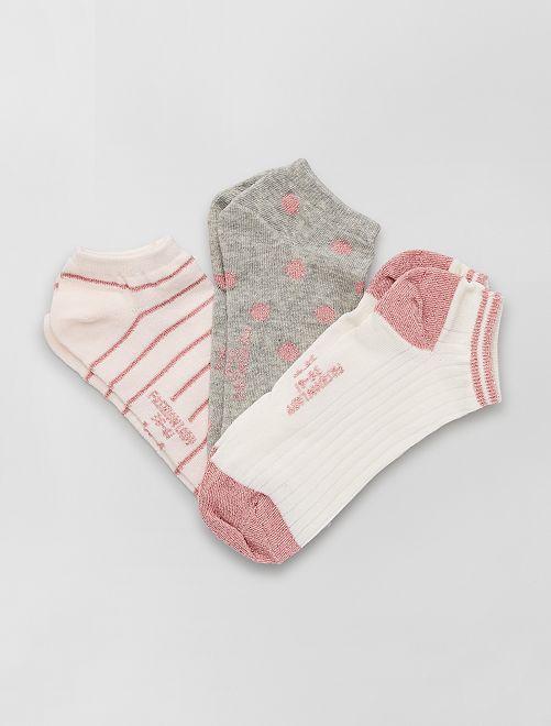 Pack de 3 pares de calcetines tobilleros                                         rosa