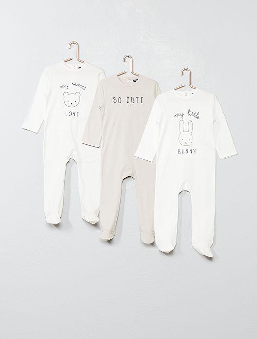 Pack de 3 pijamas                                                     BLANCO Bebé niña
