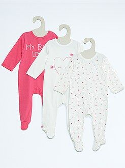Niña 0-36 meses Pack de 3 pijamas de algodón