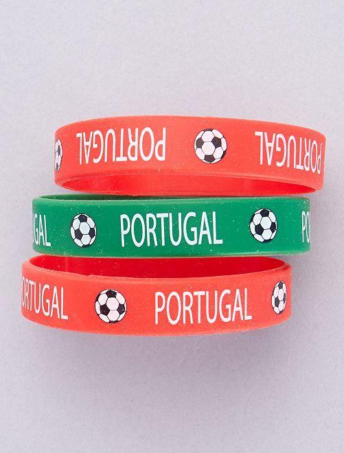 Pack de 3 pulseras de fútbol                     ROJO