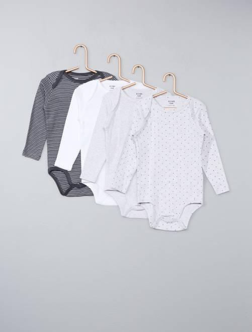 Pack de 4 bodies de algodón puro                                                     gris Bebé niño