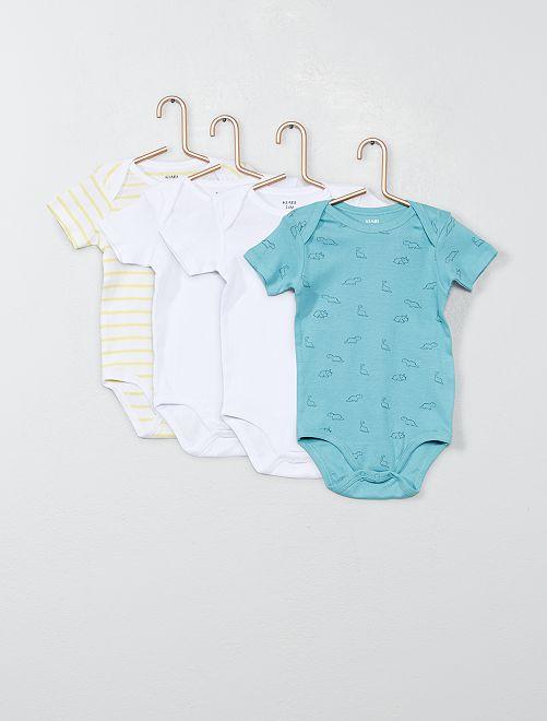 Pack de 4 bodies de manga corta                                                                 AZUL Bebé niño