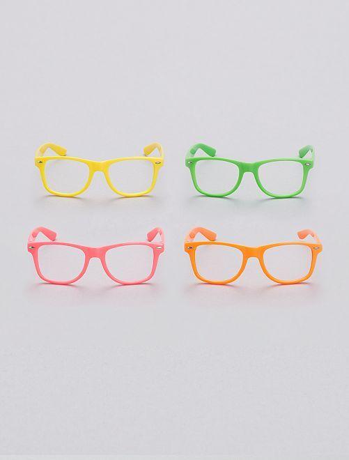 Pack de 4 gafas fluorescentes sin cristales                             multicolor