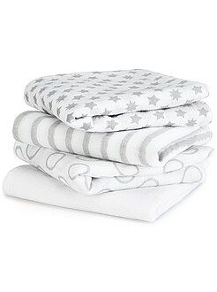 Puericultura - Pack de 4 mantas para bebé con estampado de fantasía - Kiabi