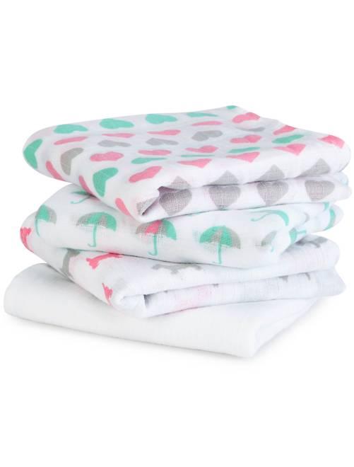 Pack de 4 mantas para bebé con estampado de fantasía                             rosa/verde Bebé niña