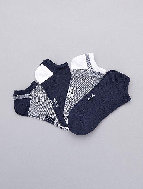 Pack de 4 pares calcetines invisibles a rayas                             azul Joven niño