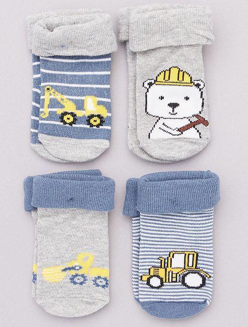 Pack de 4 pares de calcetines                                         azul