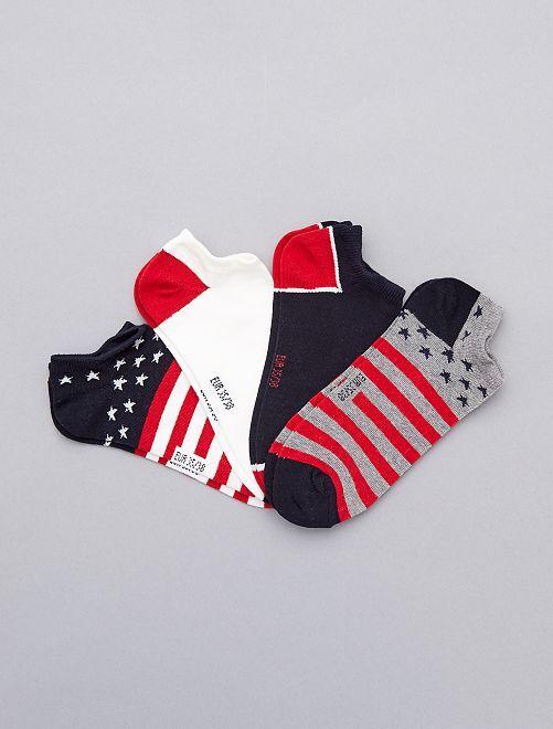Pack de 4 pares de calcetines 'bandera'                             BLANCO Joven niño