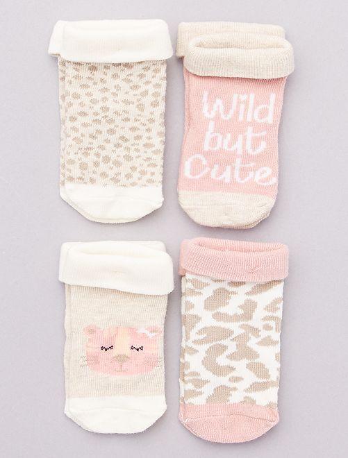 Pack de 4 pares de calcetines                                         beige
