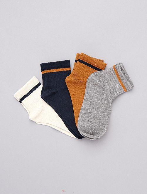 Pack de 4 pares de calcetines con raya                             NARANJA
