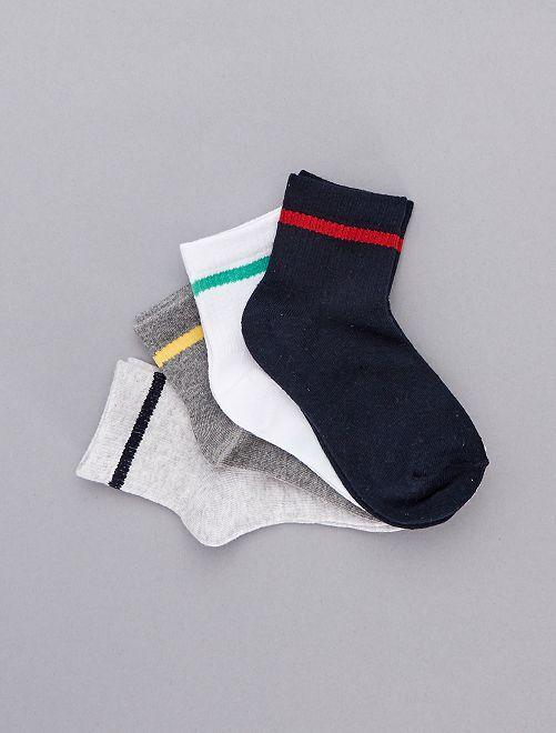 Pack de 4 pares de calcetines con raya                             ROJO Chico