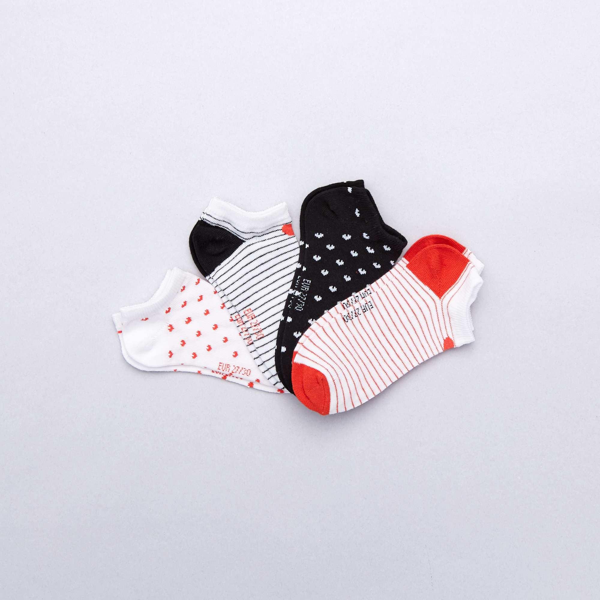 6954aa63ff8 Pack de 4 pares de calcetines  corazón  Chica - blanco negro rojo ...