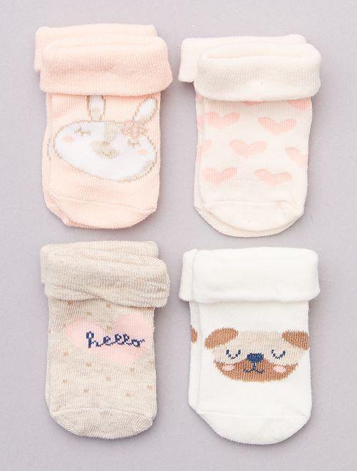 Pack de 4 pares de calcetines                     ROSA