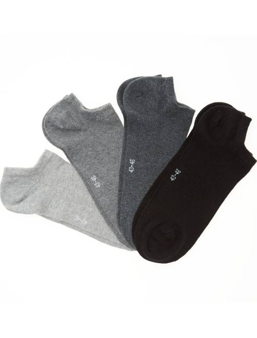 Pack de 4 pares de calcetines tobilleros de algodón orgánico                     gris Tallas grandes hombre