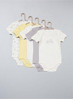Niña 0-36 meses - Pack de 5 bodies de algodón puro - Kiabi