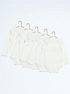 Niño 0-36 meses Pack de 5 bodies de manga larga de algodón puro