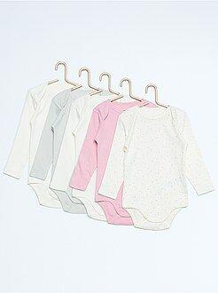 Ropa interior - Pack de 5 bodies de manga larga de algodón puro