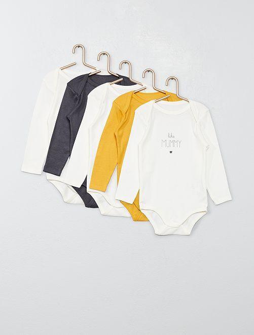 Pack de 5 bodies                                                                 GRIS Bebé niño