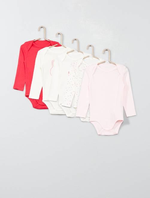 Pack de 5 bodis de algodón puro                             ROSA Bebé niña
