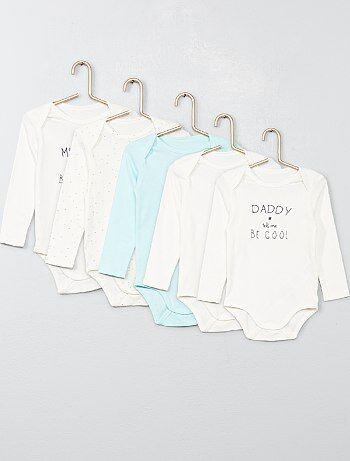 Pack de 5 bodis de algodón puro - Kiabi