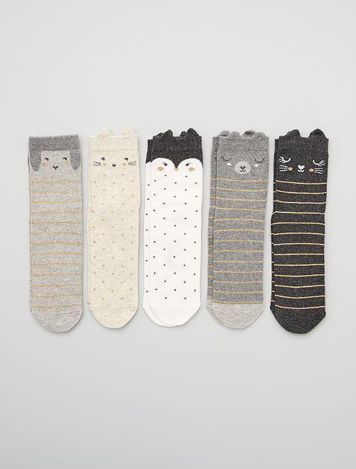 Pack de 5 calcetines 'animales'                             AMARILLO