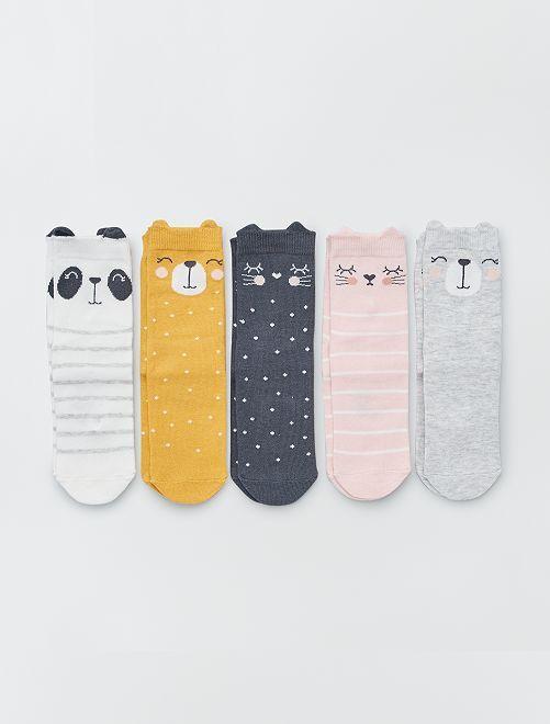 Pack de 5 calcetines 'animales'                                                                 GRIS