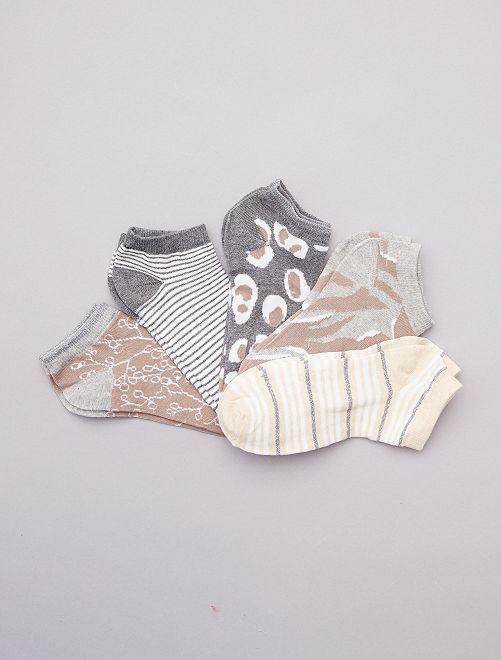 Pack de 5 calcetines cortos                                         beige/gris