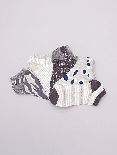 Pack de 5 calcetines cortos                                         negro/gris