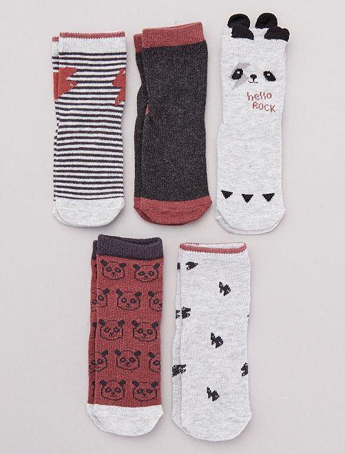 Pack de 5 calcetines de fantasía                                         GRIS