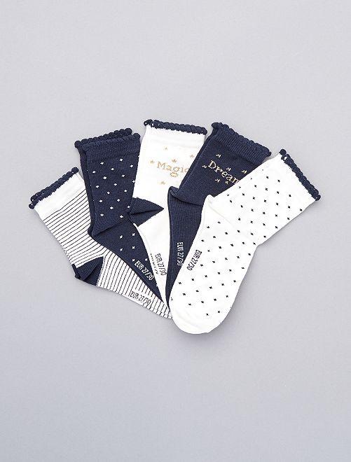 Pack de 5 pares de calcetines altos                             BLANCO