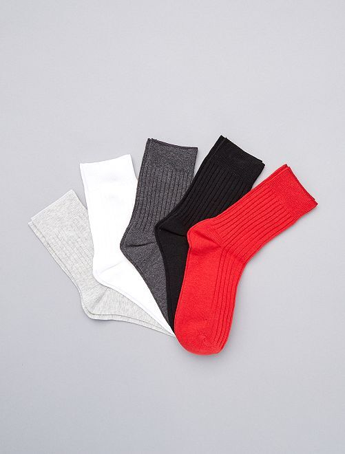 Pack de 5 pares de calcetines altos                                                     ROJO