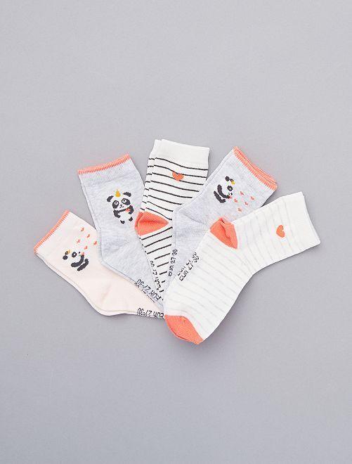 Pack de 5 pares de calcetines altos                             ROSA
