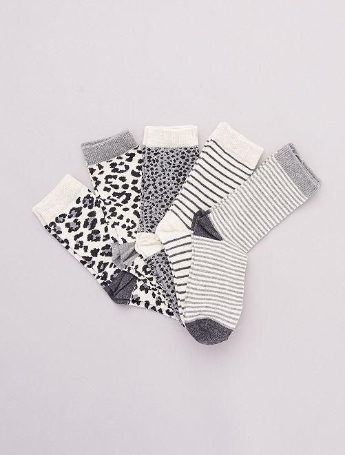 Pack de 5 pares de calcetines 'animales'                                         gris