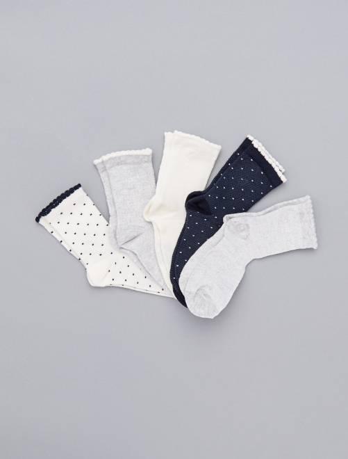 Pack de 5 pares de calcetines                             BLANCO Chica