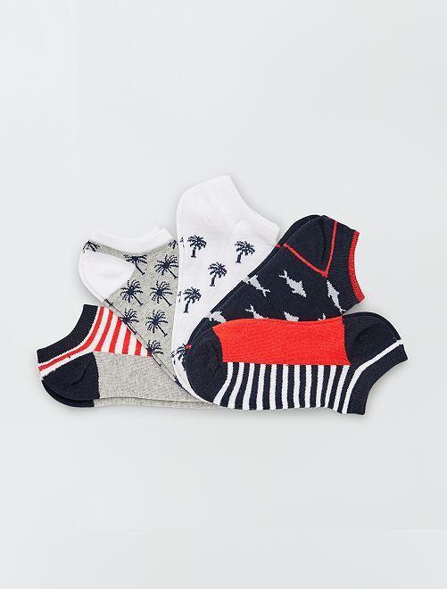 Pack de 5 pares de calcetines                             blanco/rojo