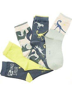 Pack de 5 pares de calcetines con estampado 'Dinosaurios'