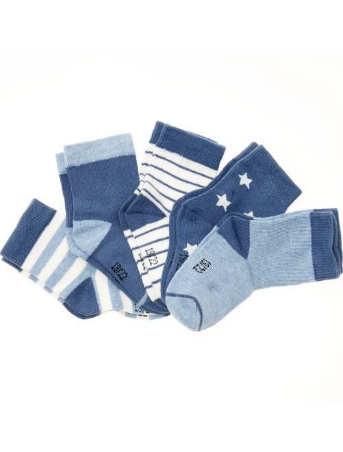 Pack de 5 pares de calcetines con motivos                                         a rayas azul Bebé niño