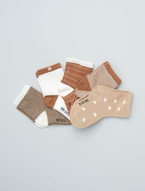 Pack de 5 pares de calcetines con motivos                             BEIGE