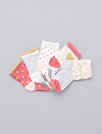 Pack de 5 pares de calcetines 'corazones' - Kiabi