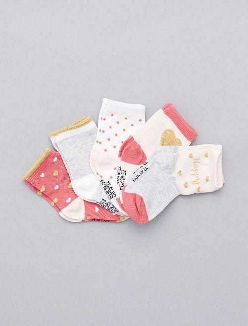 Pack de 5 pares de calcetines 'corazones'                             estampado corazòn Bebé niña